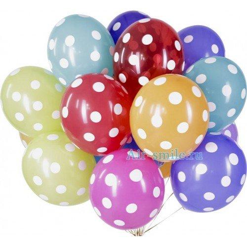 Гелиевые шарики в горошек разноцветные