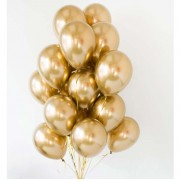 Облако шаров на грузе из золотых шариков хром 20 шт.