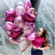 Охапка шаров с конфетти розовое золото