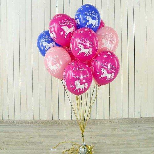 Разноцветные шары шелк пастель Единорог