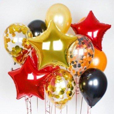 Композиция из шаров с конфетти оранжевым и красным