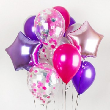 Конфетти сиреневое и розовое в шарике