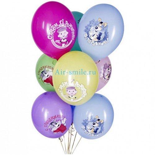 Воздушные шарики с рисунком «Простоквашино»