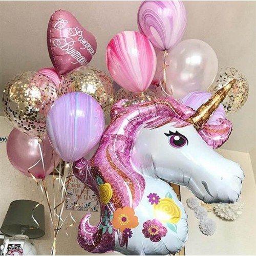 Голова розового единорога и шарики для девочки