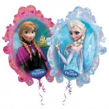 Фольгированный шарик зеркало Анна и Эльза