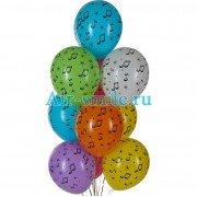 """Воздушные шары с рисунком """"Ноты"""""""