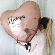 Шар сердце розовое золото с надписью