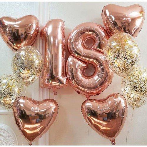 Воздушные шарики на 18 лет с цифрами розовое золото